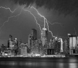 NYC b&w with lightning